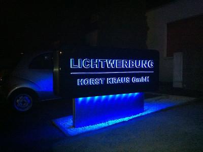 2012 - unsere neue Eigenwerbung - Ausleuchtung durch RGB-Farbwechsel in LED-Technik